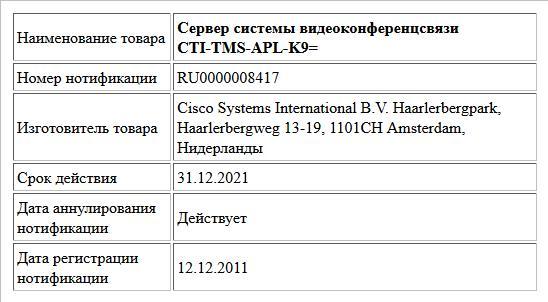 Сервер системы видеоконференцсвязи CTI-TMS-APL-K9=