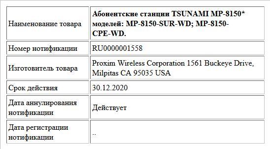 Абонентские станции TSUNAMI MP-8150* моделей: MP-8150-SUR-WD; MP-8150-CPE-WD.