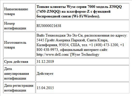 Тонкие клиенты Wyse серии 7000 модель Z50QQ (7450-Z50QQ) на платформе-Z c функцией беспроводной связи (Wi-Fi/Wireless).