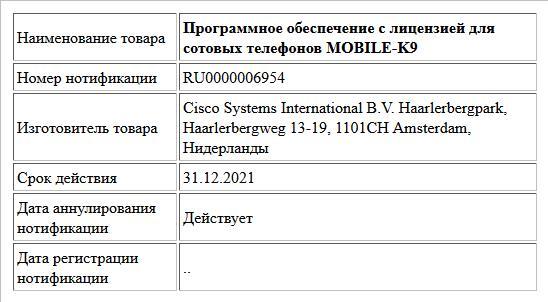 Программное обеспечение с лицензией для сотовых телефонов MOBILE-K9
