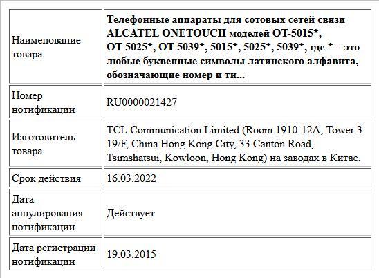 Телефонные аппараты для сотовых сетей связи ALCATEL ONETOUCH моделей OT-5015*, OT-5025*, OT-5039*, 5015*, 5025*, 5039*, где * – это любые буквенные символы латинского алфавита, обозначающие номер и ти...