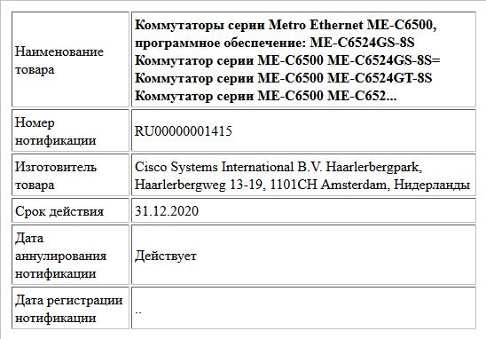 Коммутаторы серии Metro Ethernet ME-С6500, программное обеспечение: ME-C6524GS-8S Коммутатор серии ME-C6500 ME-C6524GS-8S= Коммутатор серии ME-C6500 ME-C6524GT-8S Коммутатор серии ME-C6500 ME-C652...