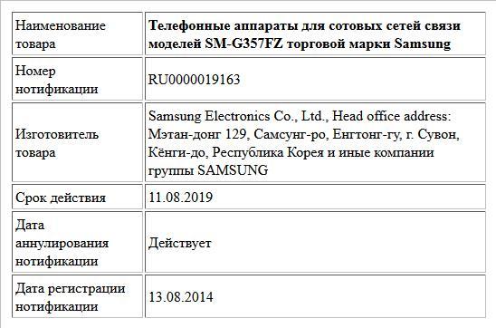 Телефонные аппараты для сотовых сетей связи моделей SM-G357FZ торговой марки Samsung