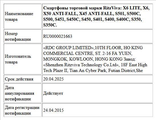 Смартфоны торговой марки RitzViva: X6 LITE, X6, X50 ANTI-FALL, X45 ANTI-FALL, S501, S500C, S500, S451, S450C, S450, S401, S400, S400C, S350, S350C.