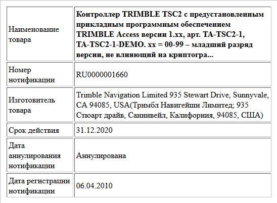 Контроллер TRIMBLE TSC2 с предустановленным прикладным программным обеспечением TRIMBLE Access версии 1.xx, арт. TA-TSC2-1, TA-TSC2-1-DEMO. xx = 00-99 – младший разряд версии, не влияющий на криптогра...
