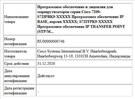 Программное обеспечение и лицензии для маршрутизаторов серии Cisco 7200: S72IPBK9-XXXXX Программное обеспечение IP BASE, версия XXXXX; S72ITPK9-XXXXX Программное обеспечение IP TRANSFER POINT (STP/M...