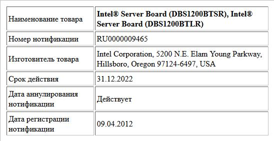 Intel® Server Board (DBS1200BTSR), Intel® Server Board (DBS1200BTLR)