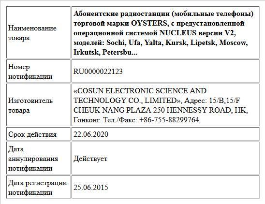 Абонентские радиостанции (мобильные телефоны) торговой марки OYSTERS, с предустановленной операционной системой NUCLEUS версии V2, моделей: Sochi, Ufa, Yalta, Kursk, Lipetsk, Moscow, Irkutsk, Petersbu...