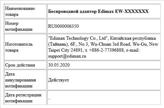 Беспроводной адаптер Edimax EW-XXXXXXX