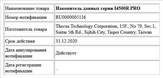 Накопитель данных серии I4500R PRO
