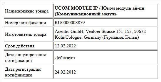 UCOM  MODULE IP /  Юком модуль ай-пи  (Коммуникационный модуль