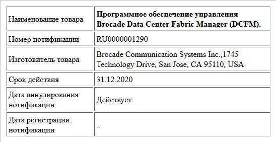 Программное обеспечение управления Brocade Data Center Fabric Manager (DCFM).