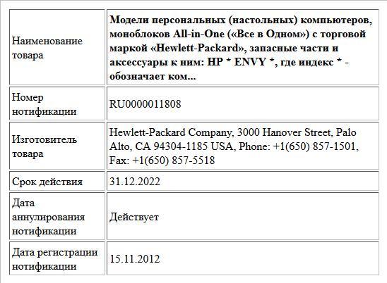 Модели персональных (настольных) компьютеров, моноблоков All-in-One («Все в Одном») с торговой маркой «Hewlett-Packard», запасные части и аксессуары к ним: HP * ENVY *, где индекс * - обозначает ком...