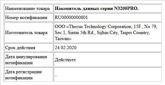 Накопитель данных серии N3200PRO.