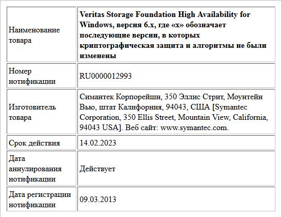 Veritas Storage Foundation High Availability for Windows, версия 6.x, где «х» обозначает последующие версии, в которых криптографическая защита и алгоритмы не были изменены