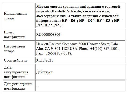 Модели систем хранения информации с торговой маркой «Hewlett-Packard», запасные части, аксессуары к ним, а также лицензии с ключевой информацией: HP * B6*; HP * D2*; HP * E5*; HP * P2*; HP * P4*;...