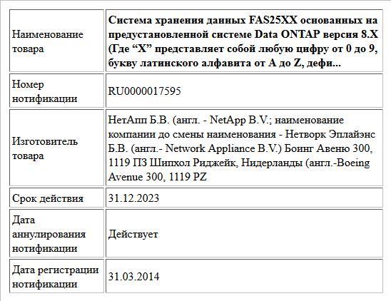 """Система хранения данных FAS25XX основанных на предустановленной системе              Data ONTAP версия 8.X (Где """"X"""" представляет собой любую цифру от 0 до 9, букву латинского алфавита от A до Z, дефи..."""