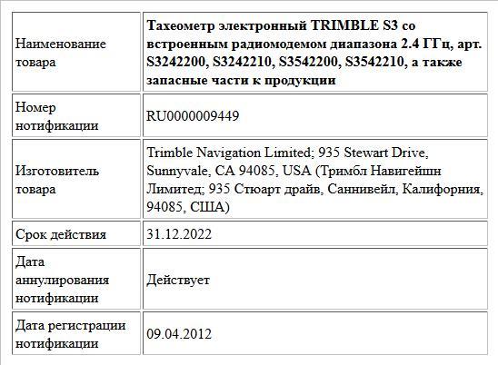 Тахеометр электронный TRIMBLE S3 со встроенным радиомодемом диапазона 2.4 ГГц, арт. S3242200, S3242210, S3542200, S3542210, а также запасные части к продукции