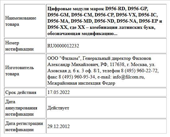Цифровые модули марок D956-RD, D956-GP, D956-GM, D956-CM, D956-CP, D956-VX, D956-IC, D956-MA, D956-MD, D956-ND, D956-NA, D956-EP и D956-XX, где XX – комбинация латинских букв, обозначающая модификацию...
