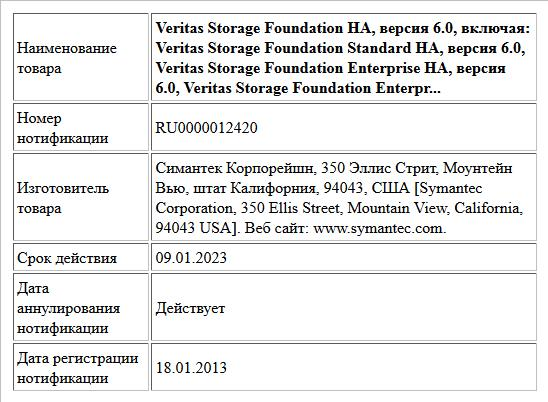 Veritas Storage Foundation HA, версия 6.0,  включая:  Veritas Storage Foundation Standard HA, версия 6.0,  Veritas Storage Foundation Enterprise HA, версия 6.0,  Veritas Storage Foundation Enterpr...