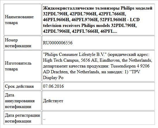Жидкокристаллические телевизоры Philips моделей 32PDL790H, 42PDL7906H, 42PFL7666H, 46PFL9606H, 46PFL9706H, 52PFL9606H - LCD television receivers Philips models 32PDL790H, 42PDL7906H, 42PFL7666H, 46PFL...