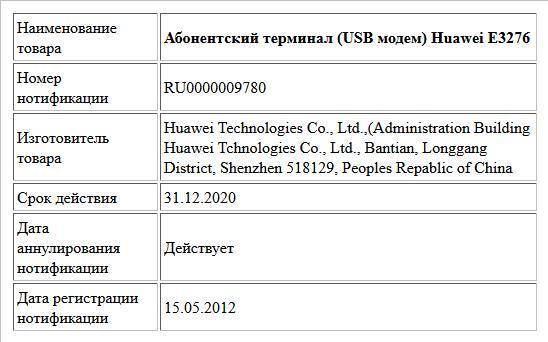 Абонентский терминал (USB модем) Huawei E3276