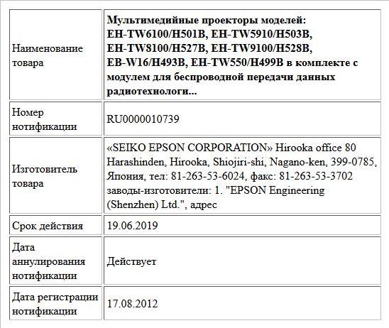 Мультимедийные проекторы моделей: EH-TW6100/H501B, EH-TW5910/H503B, EH-TW8100/H527B, EH-TW9100/H528B, EB-W16/H493B, EH-TW550/H499B в комплекте c модулем для беспроводной передачи данных радиотехнологи...