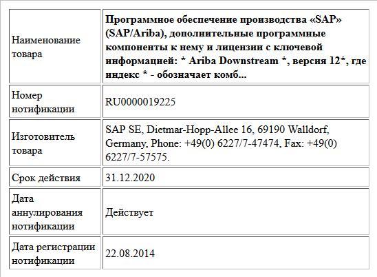 Программное обеспечение производства «SAP» (SAP/Ariba), дополнительные программные компоненты к нему и лицензии с ключевой информацией: * Ariba Downstream *, версия 12*, где индекс * - обозначает комб...