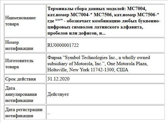 """Терминалы сбора данных моделей: MC7004,  кат.номер MC7004-*; MC7506, кат.номер MC7506-*; где """"*"""" -  обозначает комбинацию любых буквенно-цифровых символов латинского алфавита, пробелов или дефисов, не..."""
