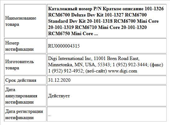 Каталожный номер P/N Краткое описание 101-1326 RCM6700 Deluxe Dev Kit 101-1327 RCM6700 Standard Dev Kit 20-101-1318 RCM6700 Mini Core 20-101-1319 RCM6710 Mini Core 20-101-1320 RCM6750 Mini Core ...