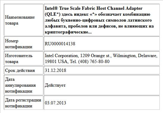 Intel® True Scale Fabric Host Channel Adapter (QLE*) здесь индекс «*» обозначает комбинацию любых буквенно-цифровых символов латинского алфавита, пробелов или дефисов, не влияющих на криптографические...