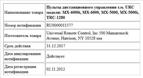 Пульты дистанционного управления т.м. URC модели: MX-6000i, MX-6000, MX-5000, MX-5000i, TRC-1280