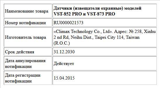 Датчики (извещатели охранные) моделей VST-852 PRO и VST-873 PRO