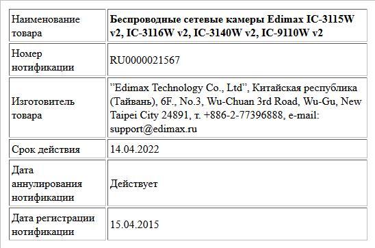 Беспроводные сетевые камеры Edimax IC-3115W v2, IC-3116W v2, IC-3140W v2, IC-9110W v2