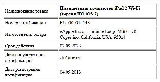 Планшетный компьютер iPad 2 Wi-Fi (версия ПО iOS 7)