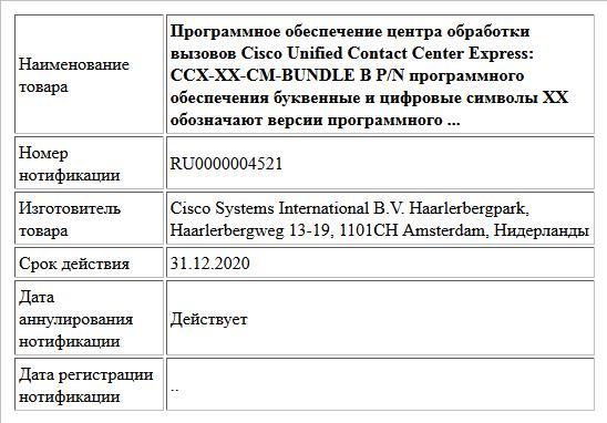 Программное обеспечение центра обработки вызовов Cisco Unified Contact Center Express: CCX-XX-CM-BUNDLE В P/N программного обеспечения буквенные и цифровые символы XX обозначают версии программного ...