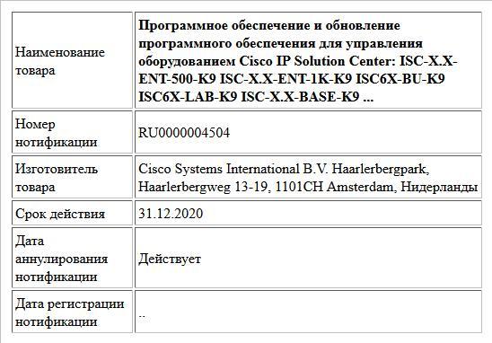 Программное обеспечение и обновление программного обеспечения для управления оборудованием Cisco IP Solution Center: ISC-X.X-ENT-500-K9 ISC-X.X-ENT-1K-K9 ISC6X-BU-K9 ISC6X-LAB-K9 ISC-X.X-BASE-K9 ...