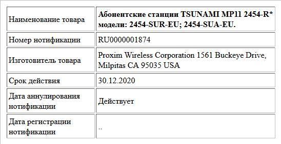 Абонентские станции TSUNAMI MP11 2454-R* модели: 2454-SUR-EU; 2454-SUA-EU.