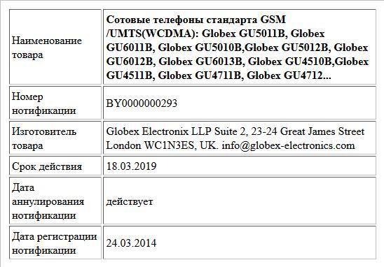 Сотовые телефоны стандарта GSM /UMTS(WCDMA): Globex GU5011B, Globex GU6011B, Globex GU5010B,Globex GU5012B, Globex GU6012B, Globex GU6013B, Globex GU4510B,Globex GU4511B, Globex GU4711B, Globex GU4712...