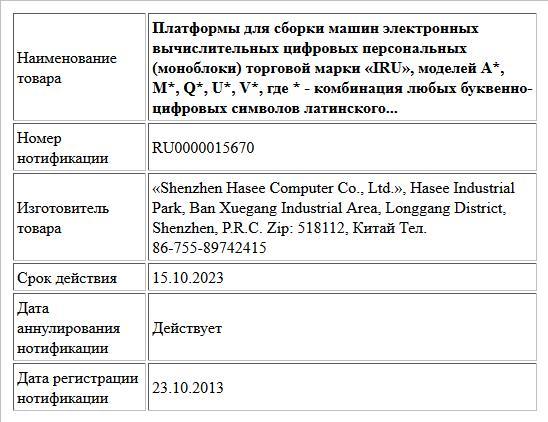 Платформы для сборки машин электронных вычислительных цифровых персональных (моноблоки) торговой марки «IRU», моделей А*, М*, Q*, U*, V*, где * - комбинация любых буквенно-цифровых символов латинского...