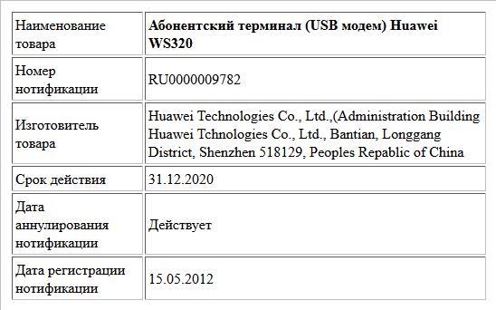 Абонентский терминал (USB модем) Huawei WS320