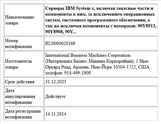 Серверы IBM System x, включая запасные части и компоненты к ним, за исключением операционных систем, системного программного обеспечения, а так же исключая компоненты с номерами: 90Y8913, 90Y8908, 90Y...