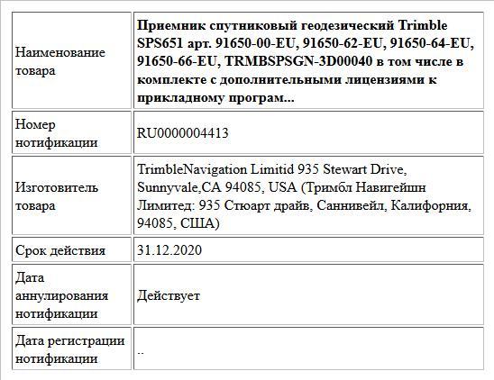 Приемник спутниковый геодезический Trimble SPS651 арт. 91650-00-EU, 91650-62-EU, 91650-64-EU, 91650-66-EU, TRMBSPSGN-3D00040 в том числе в комплекте с дополнительными лицензиями к прикладному програм...
