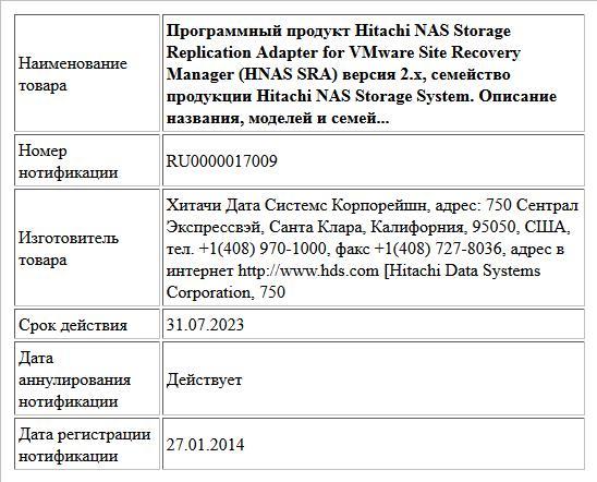 Программный продукт Hitachi NAS Storage Replication Adapter for VMware Site Recovery Manager (HNAS SRA) версия 2.х, семейство продукции Hitachi NAS Storage System.  Описание названия, моделей и семей...