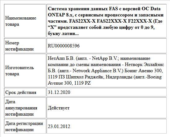 """Система хранения данных FAS с версией ОС Data ONTAP 8.x, с сервисным процессором и запасными частями.  FAS22XX-X FAS22XXX-X  F22XXX-X (Где """"X"""" представляет собой любую цифру от 0 до 9, букву латин..."""