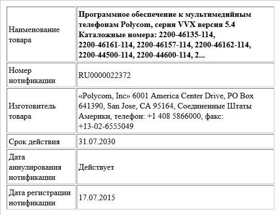 Программное обеспечение к мультимедийным телефонам Polycom, серия VVX версия 5.4  Каталожные номера: 2200-46135-114, 2200-46161-114, 2200-46157-114, 2200-46162-114, 2200-44500-114, 2200-44600-114, 2...