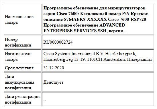 Программное обеспечение для маршрутизаторов серии Cisco 7600: Каталожный номер P/N Краткое описание S764AEK9-XXXXXX Cisco 7600-RSP720 Программное обеспечение ADVANCED ENTERPRISE SERVICES SSH, версия...