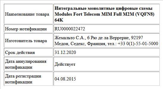 Интегральные монолитные цифровые схемы Modules Fort Telecom MIM Full M2M (VQFN8) 64K