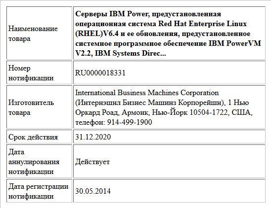 Серверы IBM Power, предустановленная операционная система Red Hat Enterprise Linux (RHEL)V6.4 и ее обновления,  предустановленное системное программное обеспечение IBM PowerVM V2.2, IBM Systems Direc...