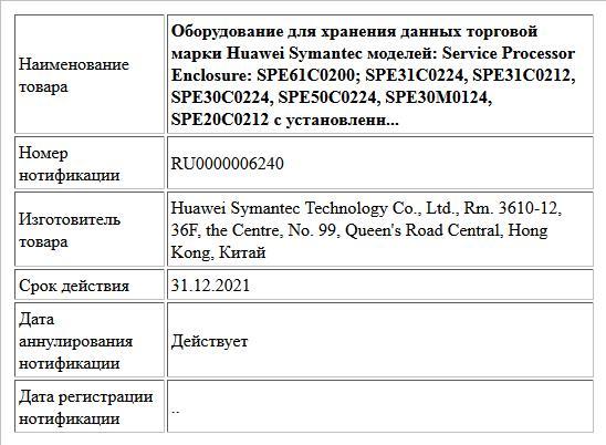 Оборудование для хранения данных торговой марки Huawei Symantec моделей: Service Processor Enclosure: SPE61C0200; SPE31C0224, SPE31C0212, SPE30C0224, SPE50C0224, SPE30M0124, SPE20C0212 с установленн...